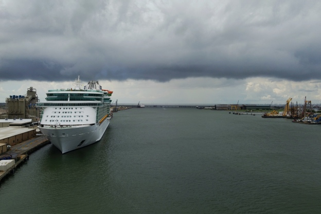 View from the Carnival Breeze at Galveston Port Sail Away