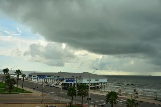 Storm clouds over Galveston, Texas as seen from our room at the Four Points Sheraton